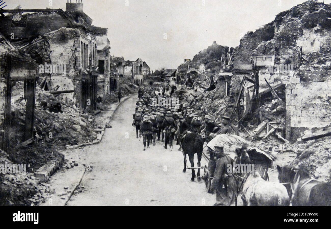 World war One: Bapaume in France was occupied by the Germans on 26 September 1914 - Stock Image