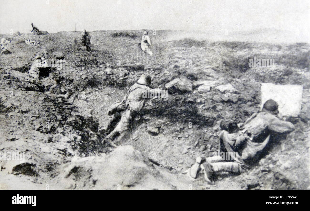 World war One: German troops kill French soldiers as they advance towards the German trenches1916 - Stock Image