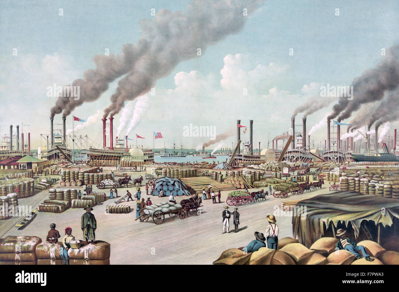 The levee-New Orleans by Currier & Ives c1884. - Stock Image