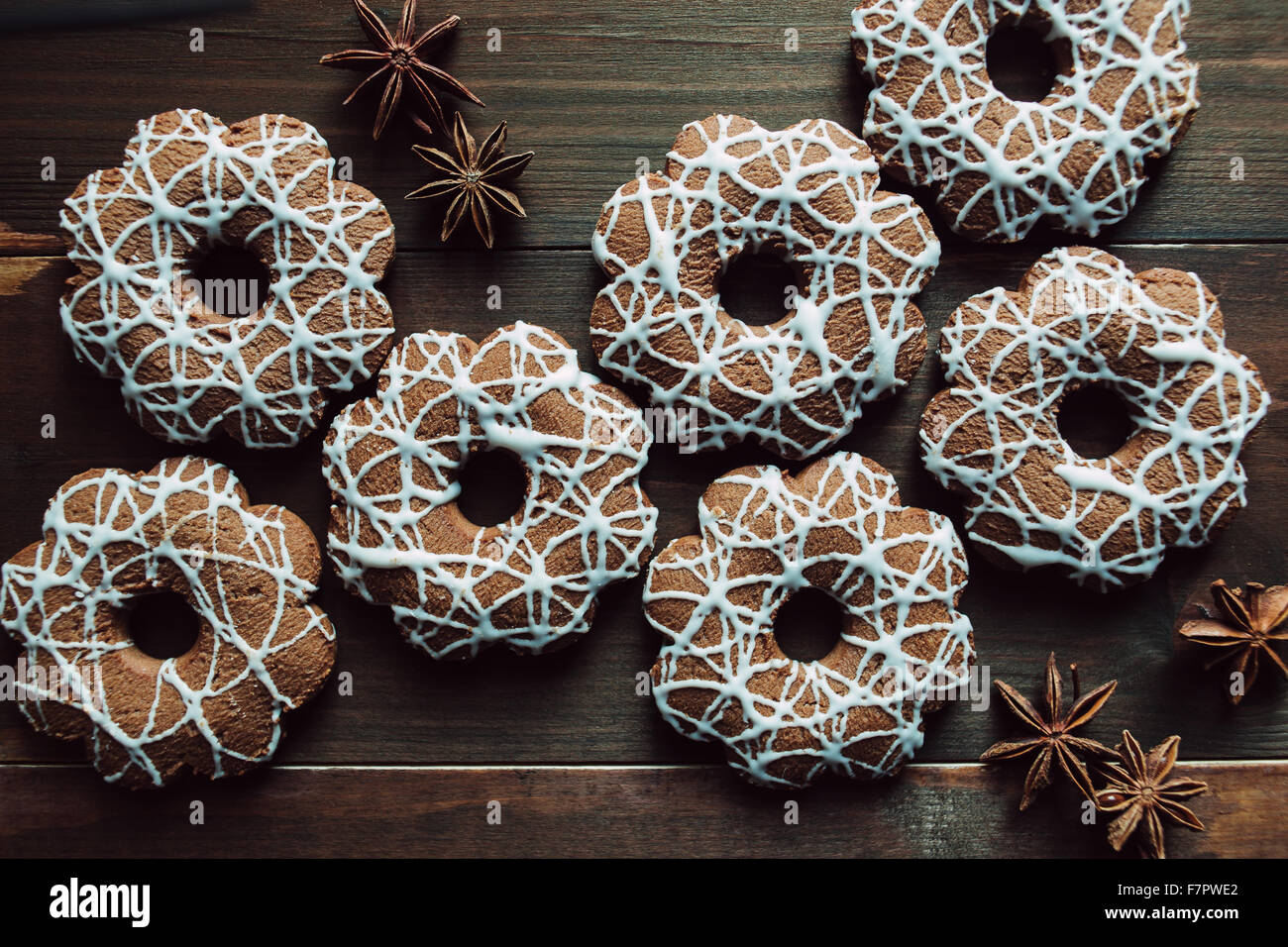 Christmas cookies with anise on the table Stock Photo