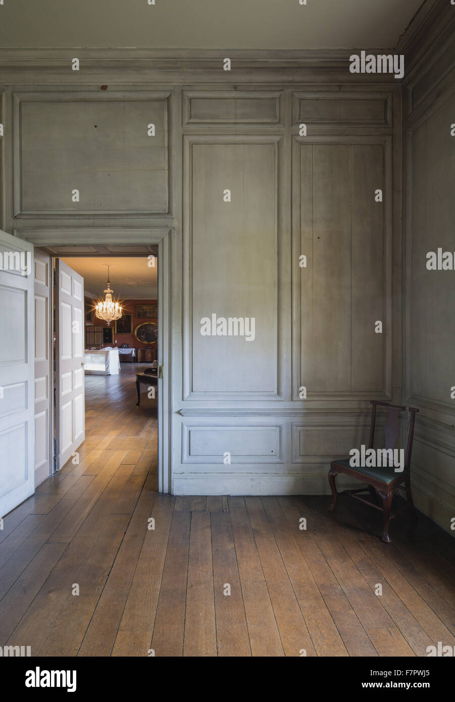 A view from the Summer Parlour into the Great Gallery at Dunham Massey, Cheshire, during the recreation of the Stamford Stock Photo