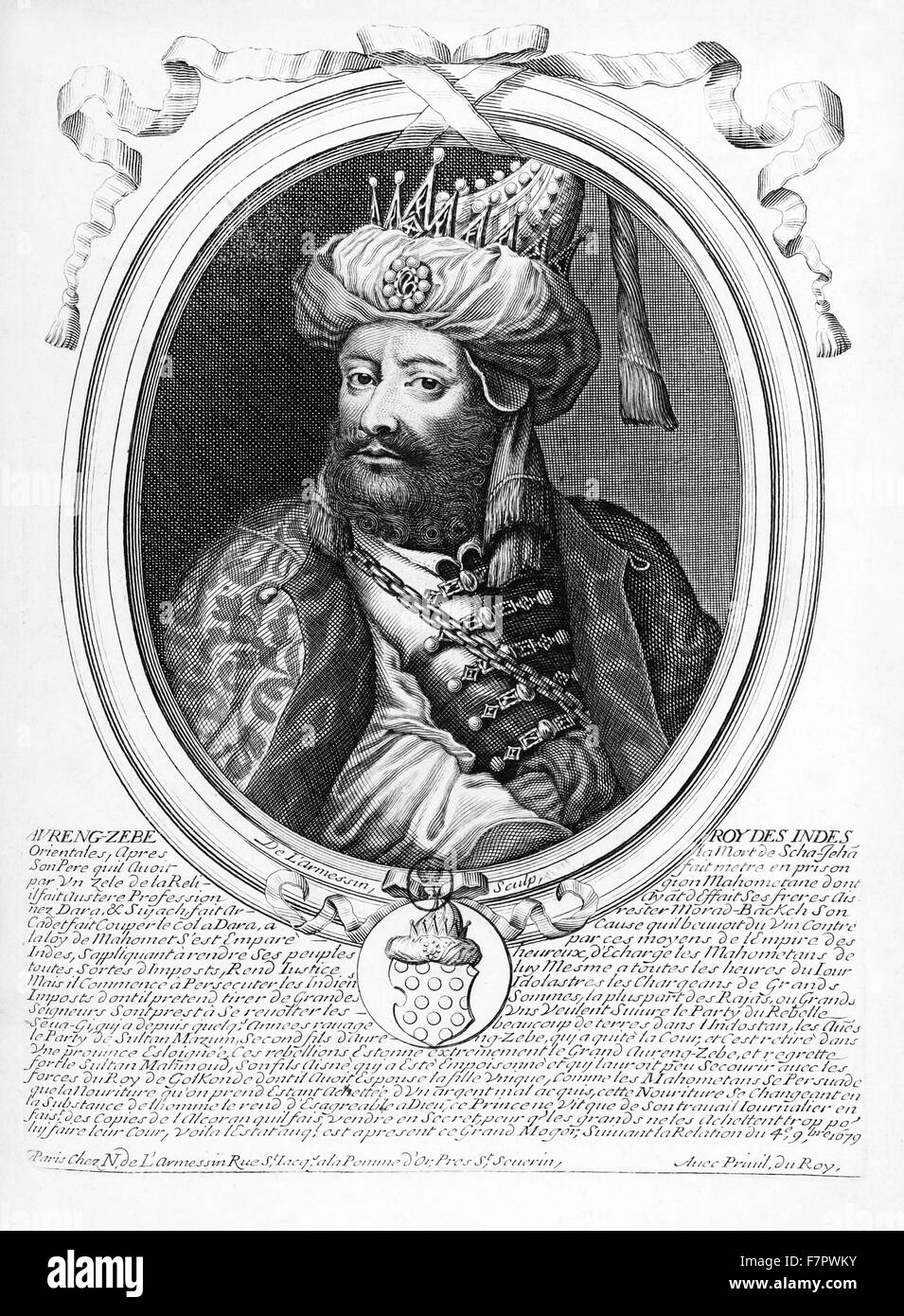 Abdul Muzaffar Muhi-ud-Din Muhammad Aurangzeb (14 October 1618 – 20 February 1707), commonly known as Aurangzeb - Stock Image