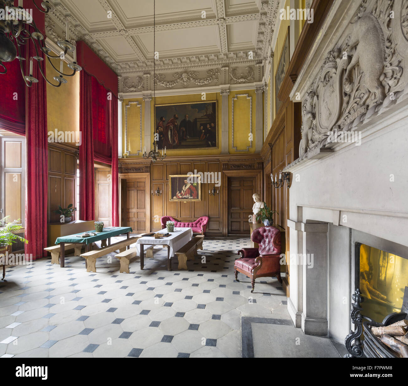 Recreation of the Stamford Military Hospital refectory, in The Great Hall at Dunham Massey, Cheshire. During the Stock Photo