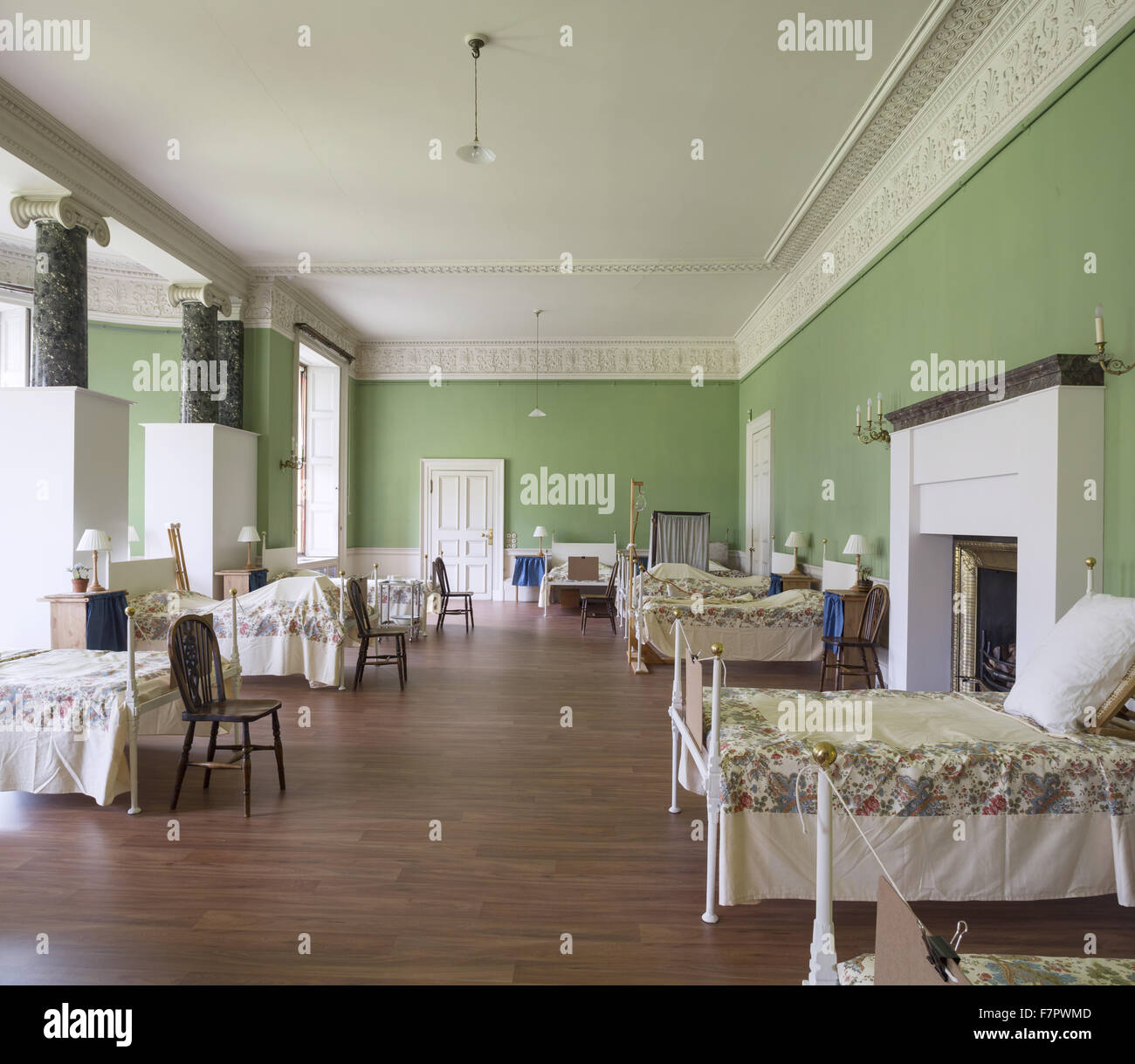 Recreation of a ward at the Stamford Military Hospital, in The Saloon at Dunham Massey, Cheshire. During the First - Stock Image