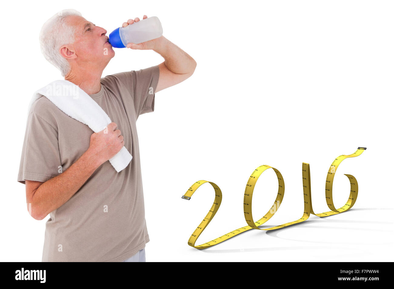 Composite image of senior man drinking from water bottle - Stock Image