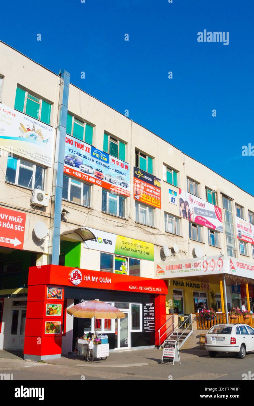 Restaurant, offices, SAPA, the Vietnamese market, Libus, Prague, Czech Republic - Stock Image