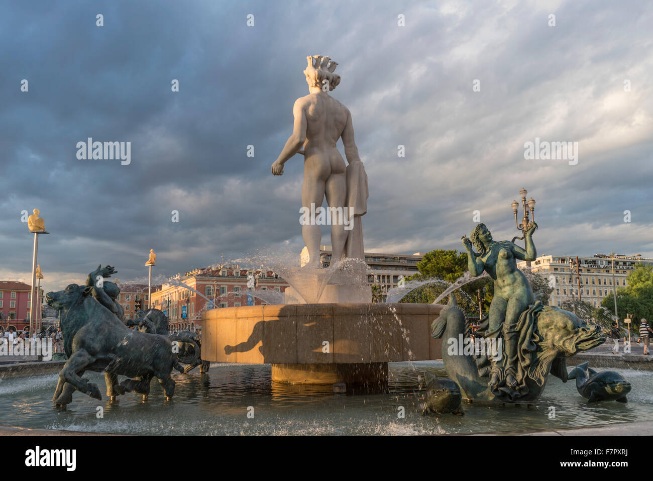 Fountain of the Sun with Apollo statue on Place Massena in Nice, France Stock Photo