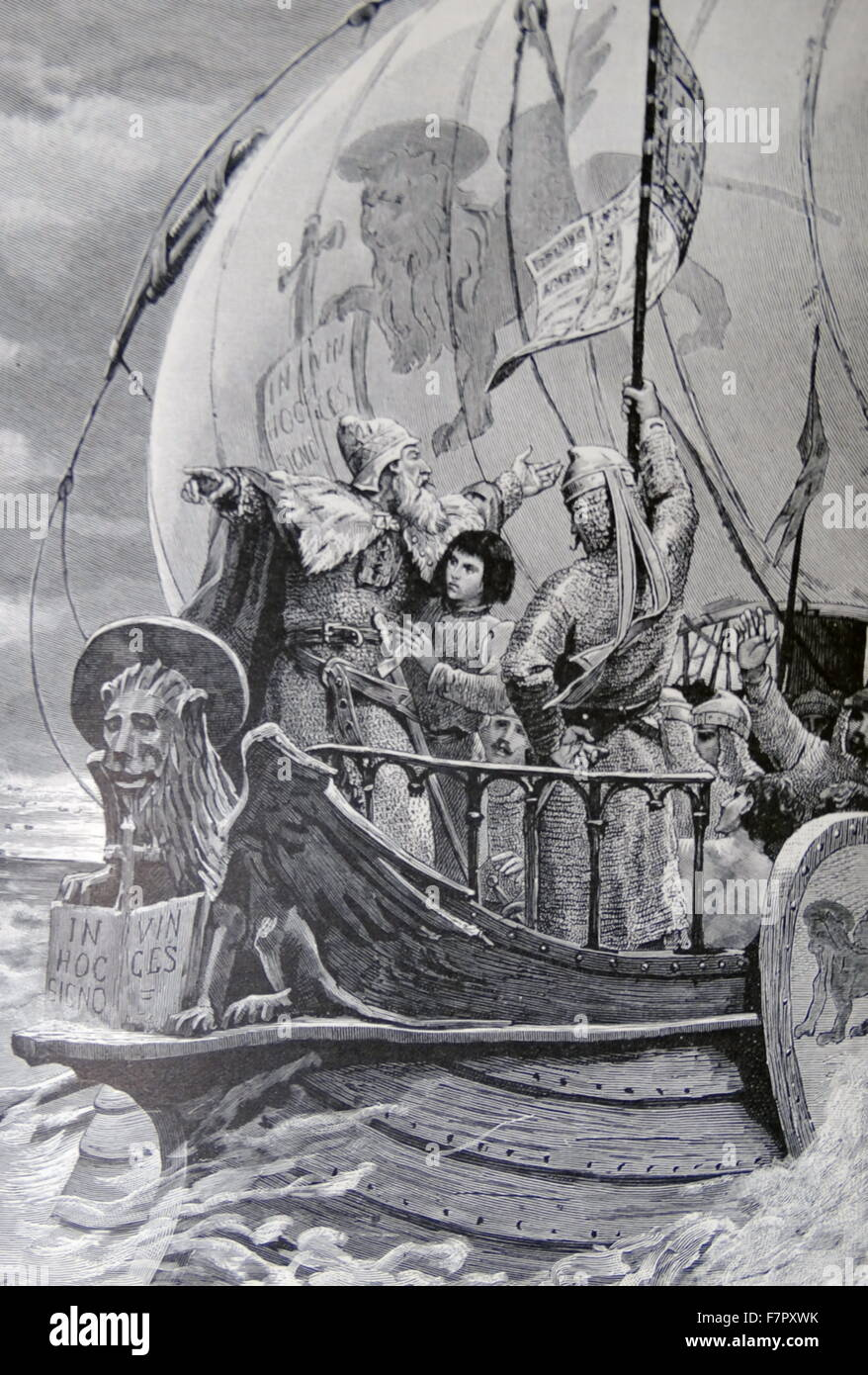venetian warship of 9th century sails to resist Lombardian advance - Stock Image