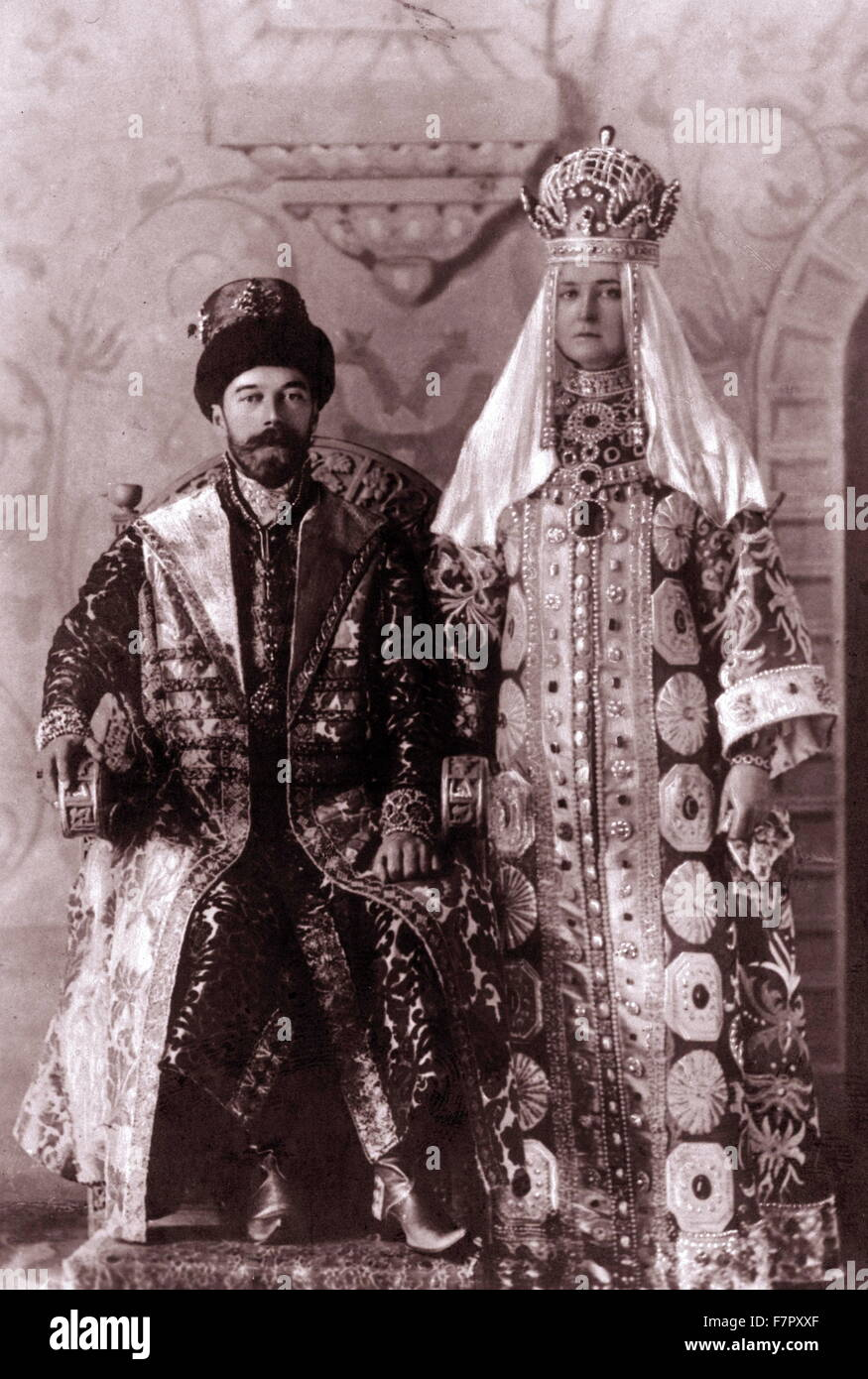 Tsar Nicholas II and empress Alexandra in coronation robes, Russia 1894 - Stock Image