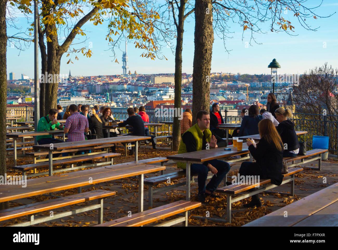 Beer garden, Letenske sady, Letna Park, Prague, Czech Republic - Stock Image