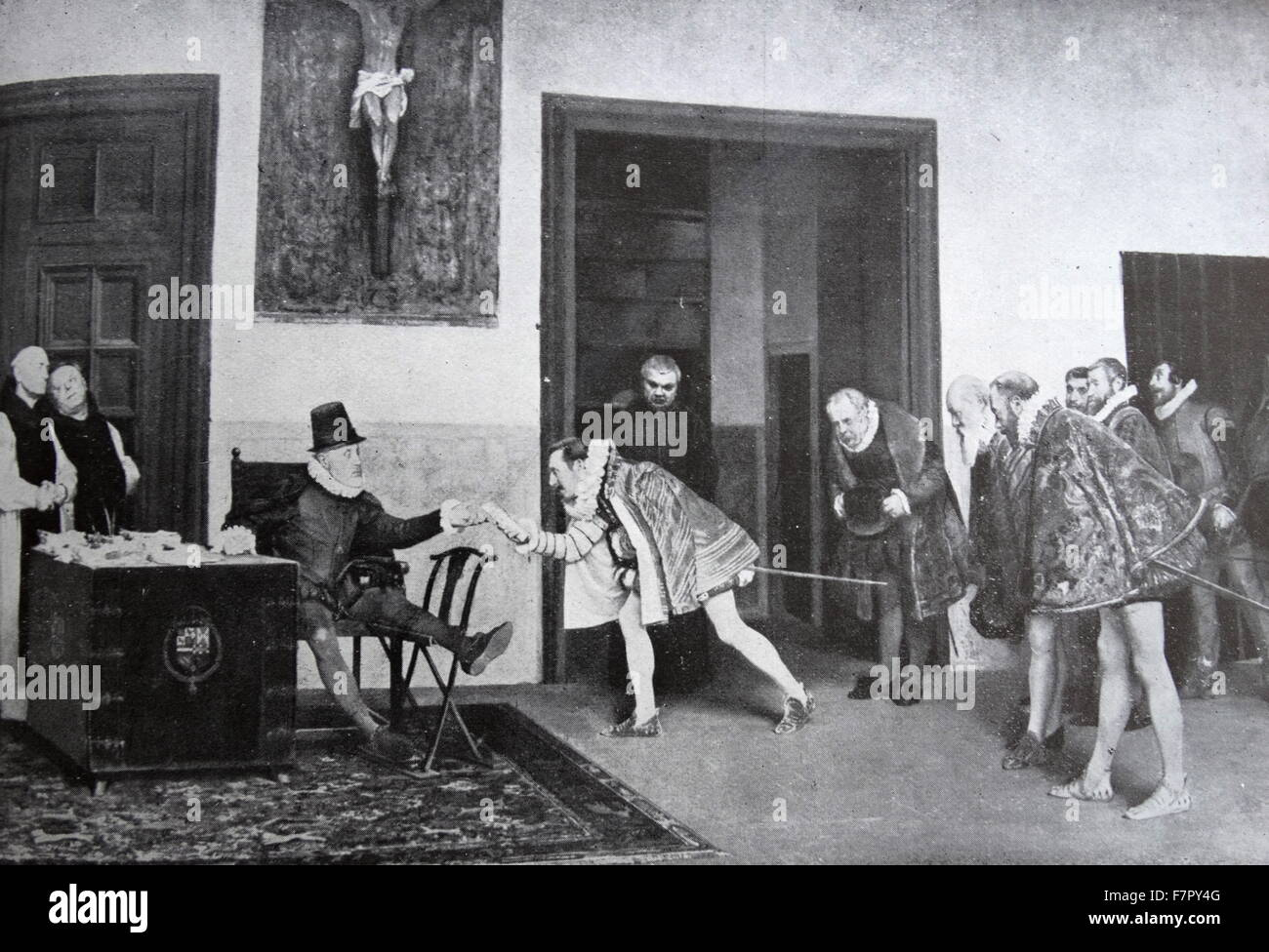 King Philip II (Felipe II) of Spain, receives ambassadors from Flanders, prior to his invasion of the Netherlands Stock Photo