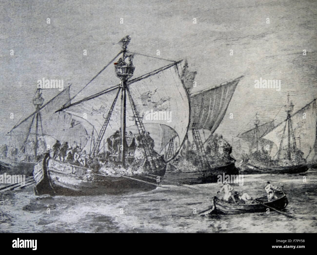 19th century illustration of Crusader fleet crossing the Bosporus in the 12th century - Stock Image