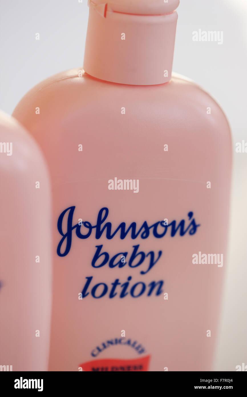 Johnson's baby lotion bottles - Stock Image