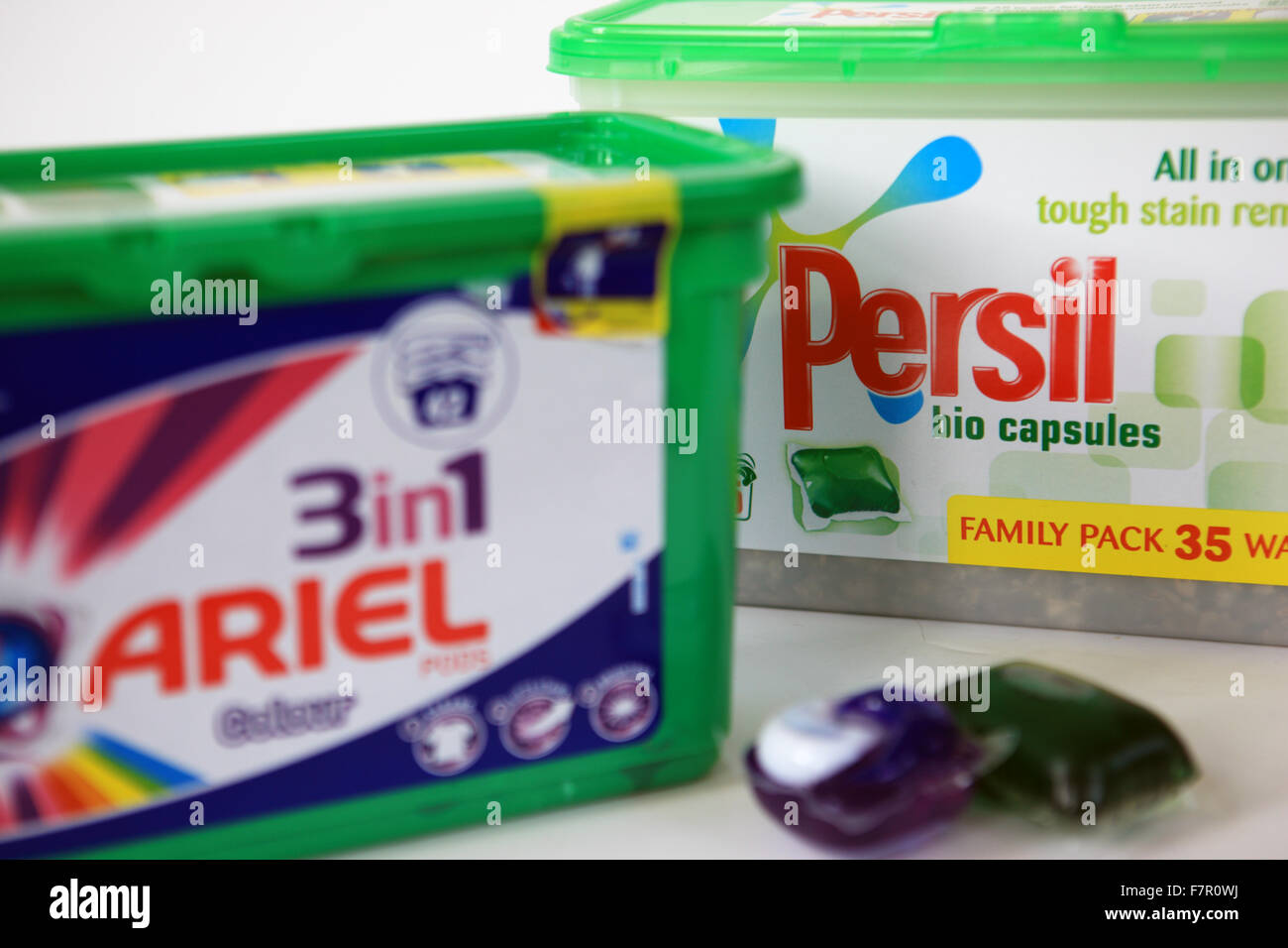 Persil and Ariel clothes washing capsules - Stock Image