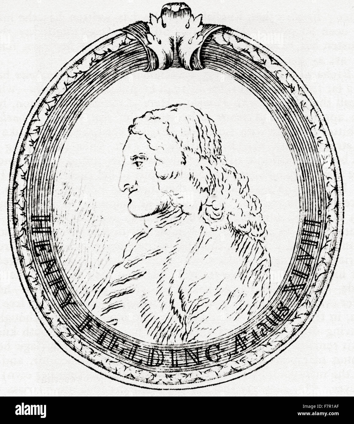 Henry Fielding, 1707 – 1754.   English novelist and dramatist.  After the engraving by William Hogarth.  From Impressions - Stock Image
