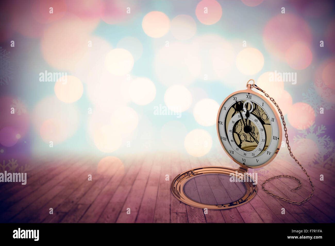 Composite image of retro styled pocket clock with chain - Stock Image