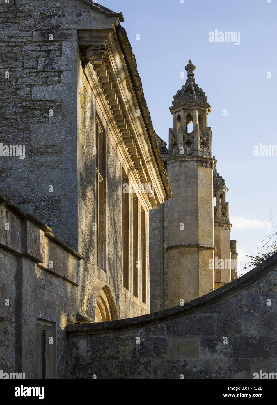 An oblique view of the front of Lacock Abbey, Wiltshire. - Stock Image