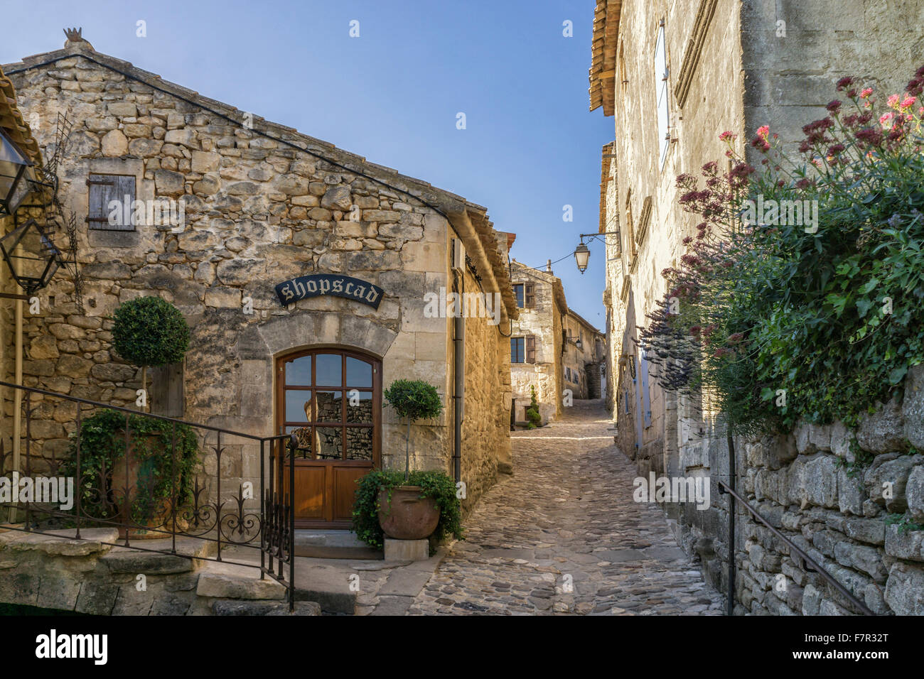 Village street in Lacoste,  Provence, France - Stock Image