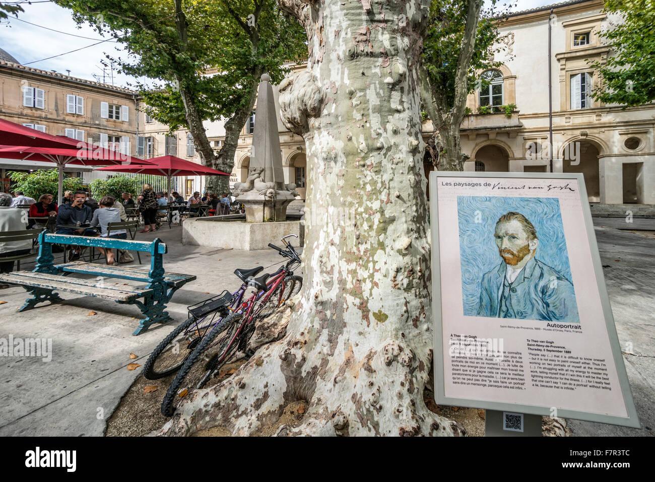 Van Gogh Info Sign, Plane Tree, village sqaure, Saint Remy de Provence, Provence, France - Stock Image