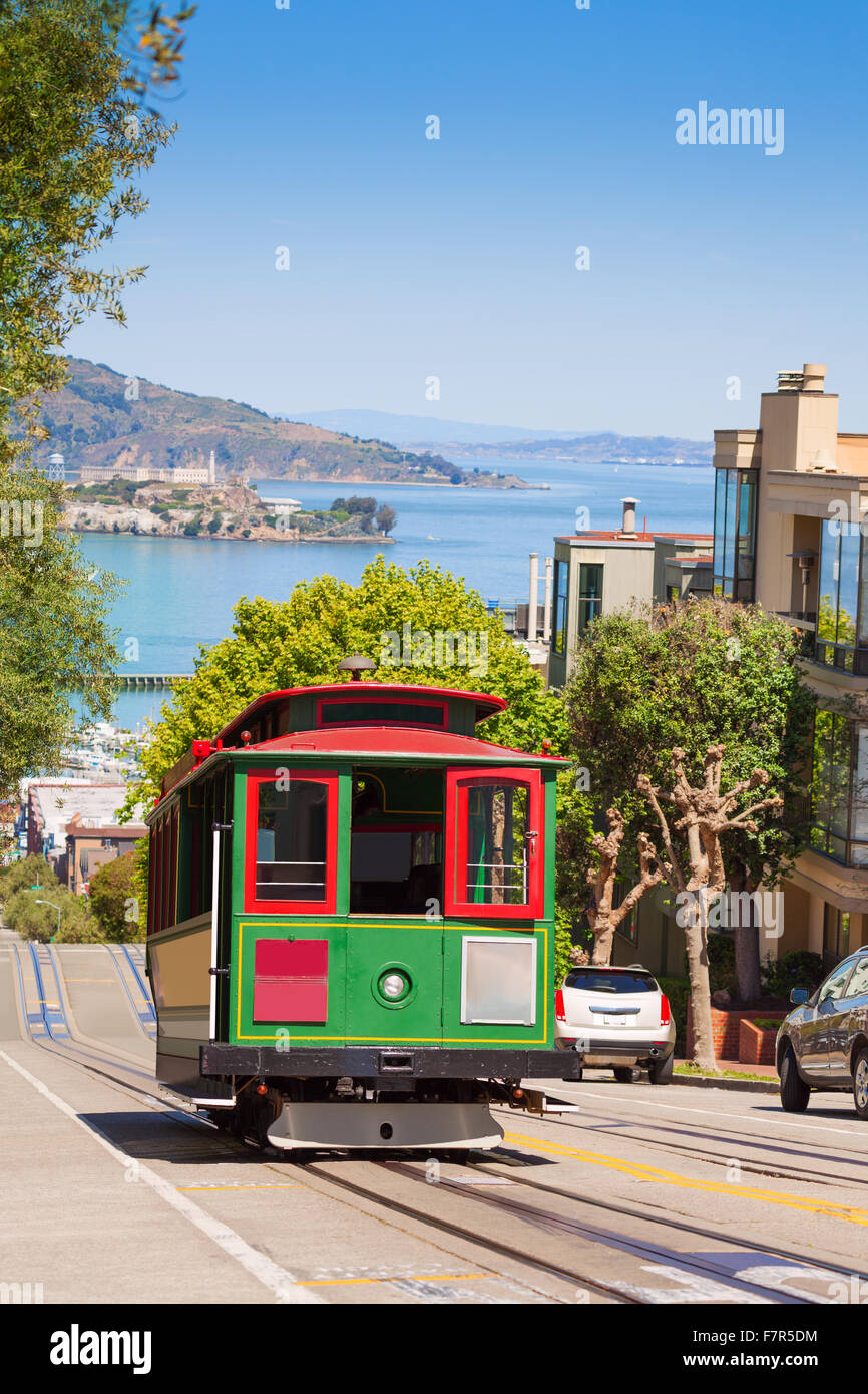 San Francisco tram and beautiful Hyde street - Stock Image
