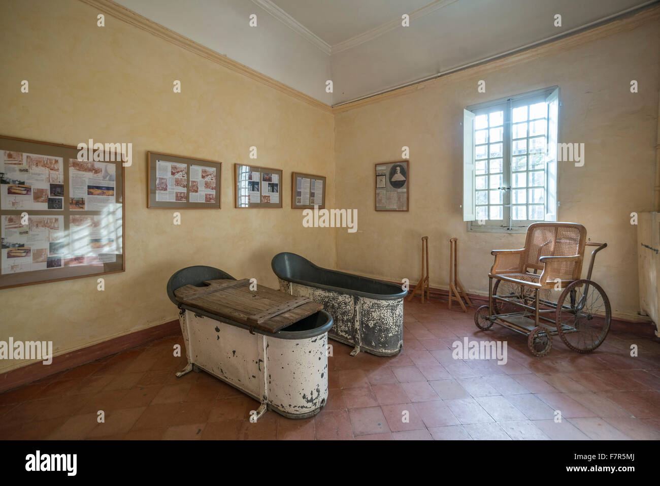 bath tubes in asylum of Vincent van gogh in St Paul de Mausole ,  St Rémy de Provence, France - Stock Image