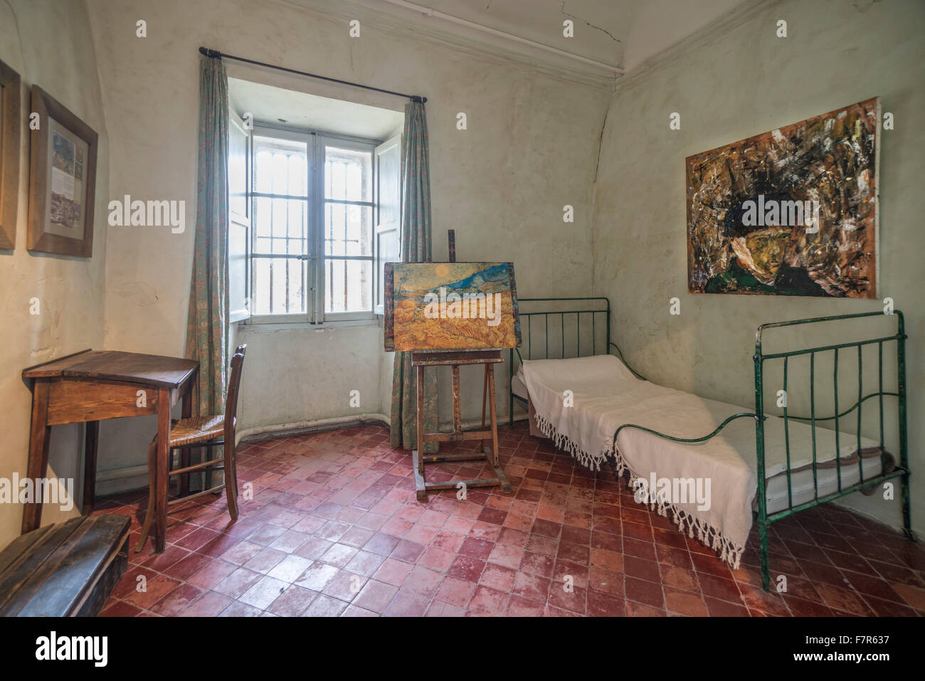 reconstruction of Vincent Van Gogh s room in asylum of St Paul de Mausole ,  St Rémy de Provence, France - Stock Image
