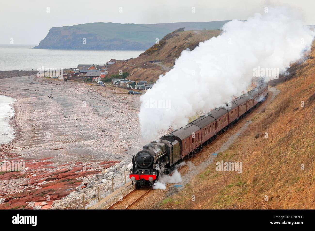 Steam locomotive LMS Royal Scot Class 46115 Scots Guardsman near Nethertown Station, Whitehaven, Cumbria, England, - Stock Image