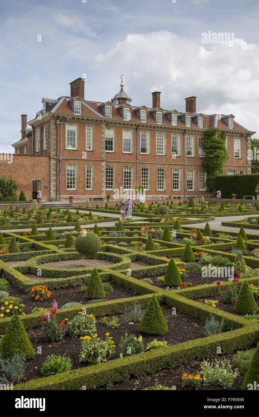 View of Hanbury Hall from across the parterre garden, Worcestershire ...