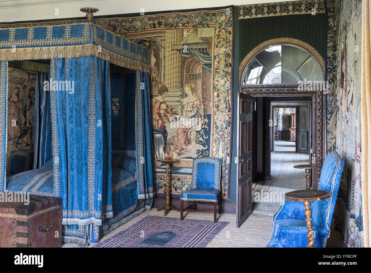 The Blue Room at Hardwick Hall, Derbyshire. Hardwick Hall was built in the late 16th century for Bess of Hardwick. - Stock Image
