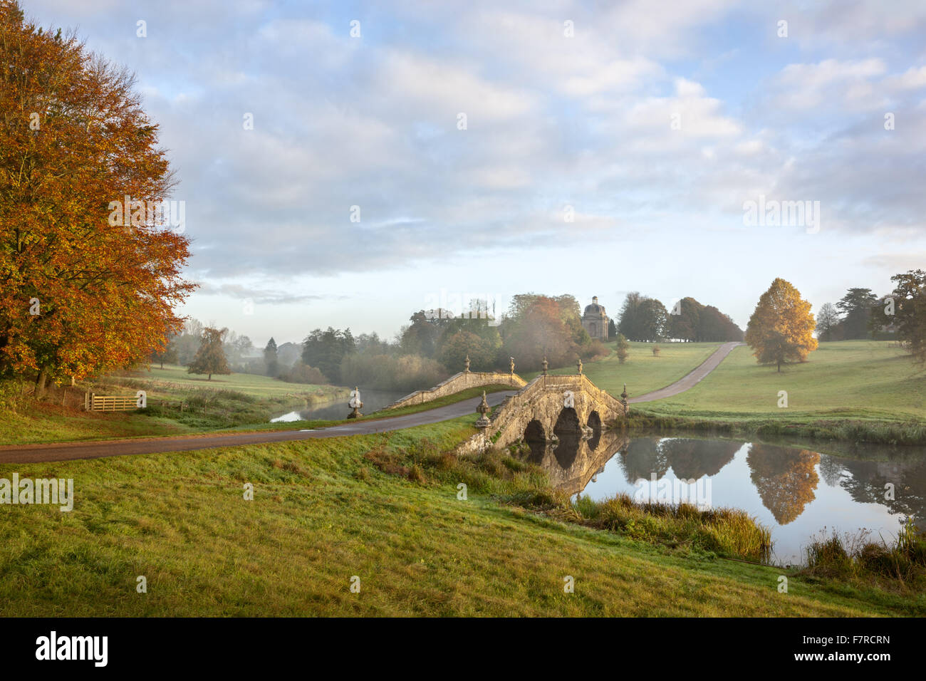 The Oxford Bridge at Stowe, Buckinghamshire. Stowe is an 18th century landscaped garden, and includes more than - Stock Image