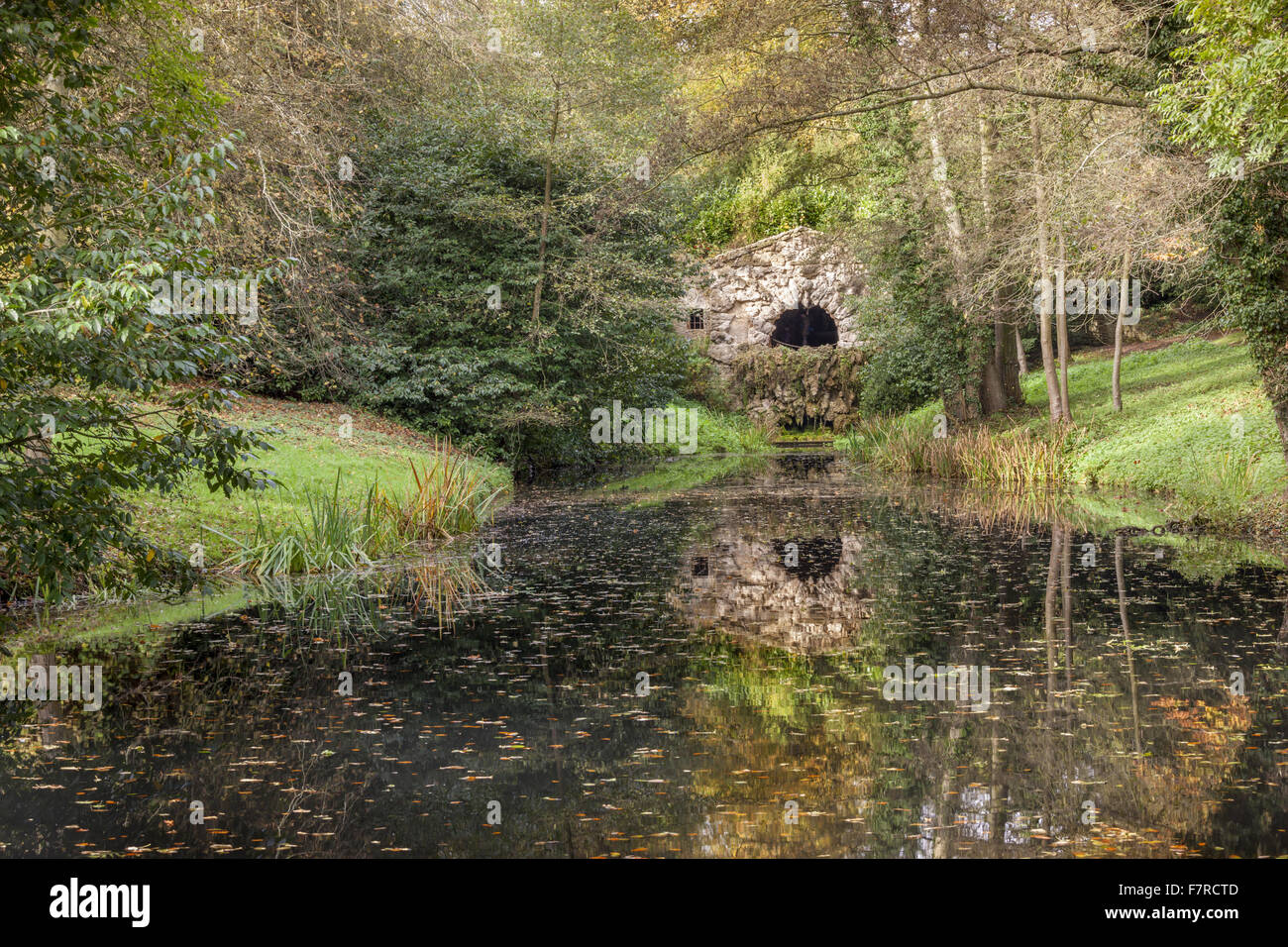 The Grotto at Stowe, Buckinghamshire. Stowe is an 18th century landscaped garden, and includes more than 40 historic - Stock Image