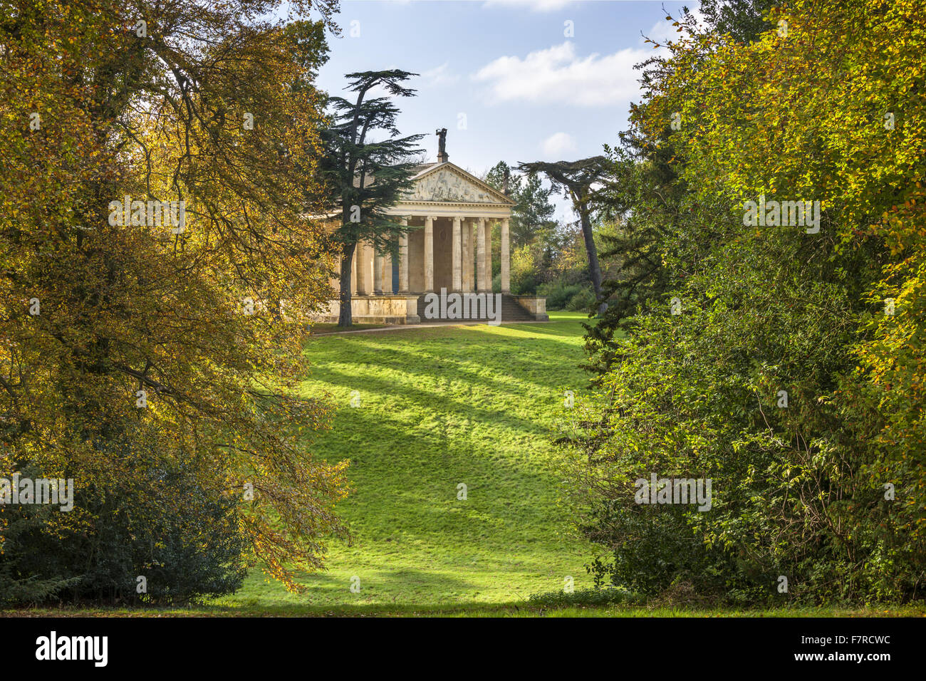 The Temple of Concord and Victory in the Grecian Valley at Stowe, Buckinghamshire. Stowe is an 18th century landscaped - Stock Image
