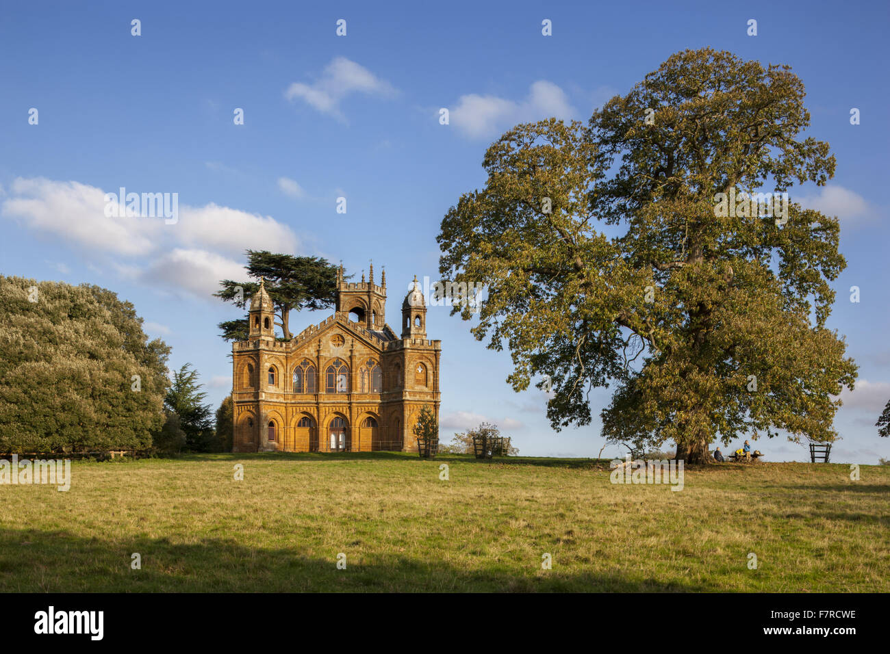 The Gothic Temple at Stowe, Buckinghamshire. Stowe is an 18th century landscaped garden, and includes more than - Stock Image
