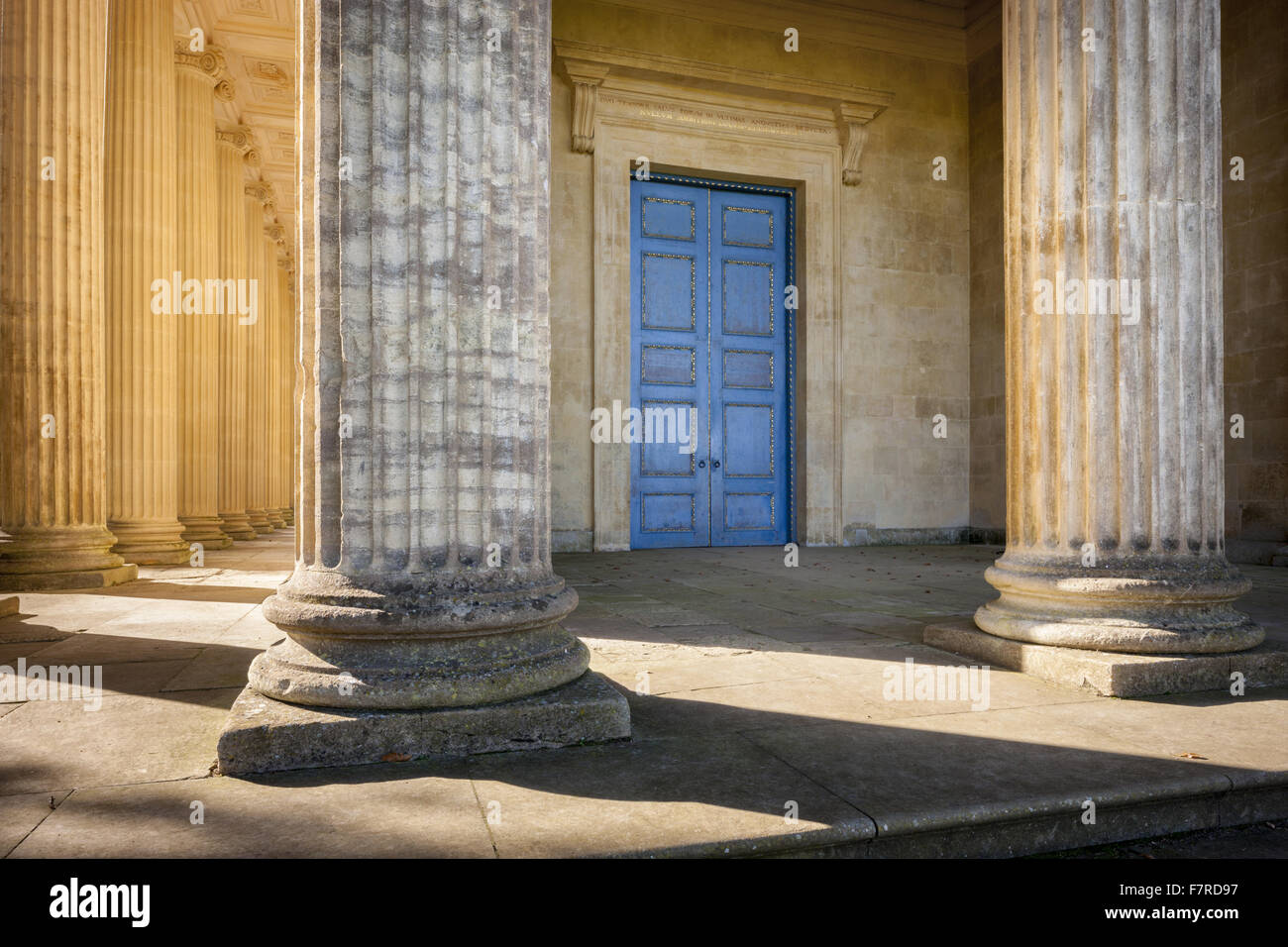 Detail of the Temple of Concord and Victory at Stowe, Buckinghamshire. Stowe is an 18th century landscaped garden, - Stock Image