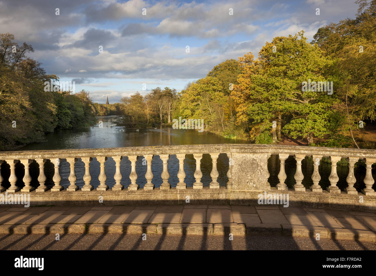 View from the bridge at Clumber Park, built in the mid 18th century, Nottinghamshire. - Stock Image