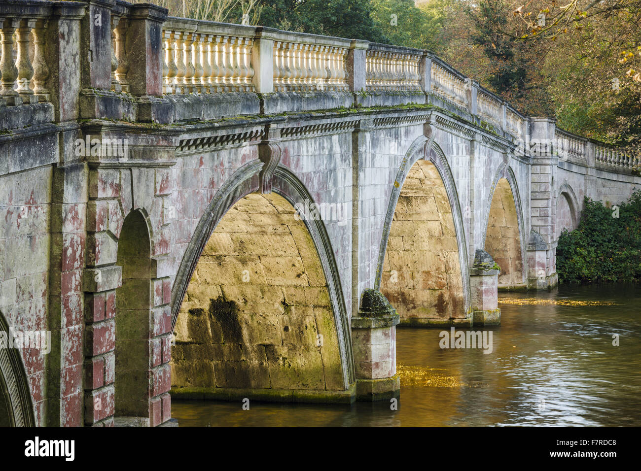 View of the bridge at Clumber Park, built in the mid 18th century, Nottinghamshire. - Stock Image