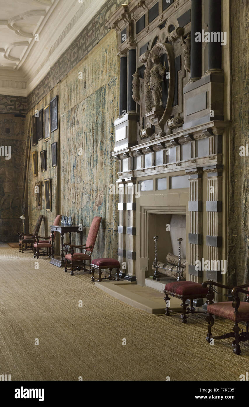 View of the fireplace and Gideon Tapestries in the Long Gallery, Hardwick Hall, Derbyshire. The walls of the Long Stock Photo