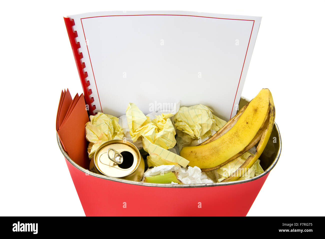 Blank Booklet In Trash Can Stock Photo