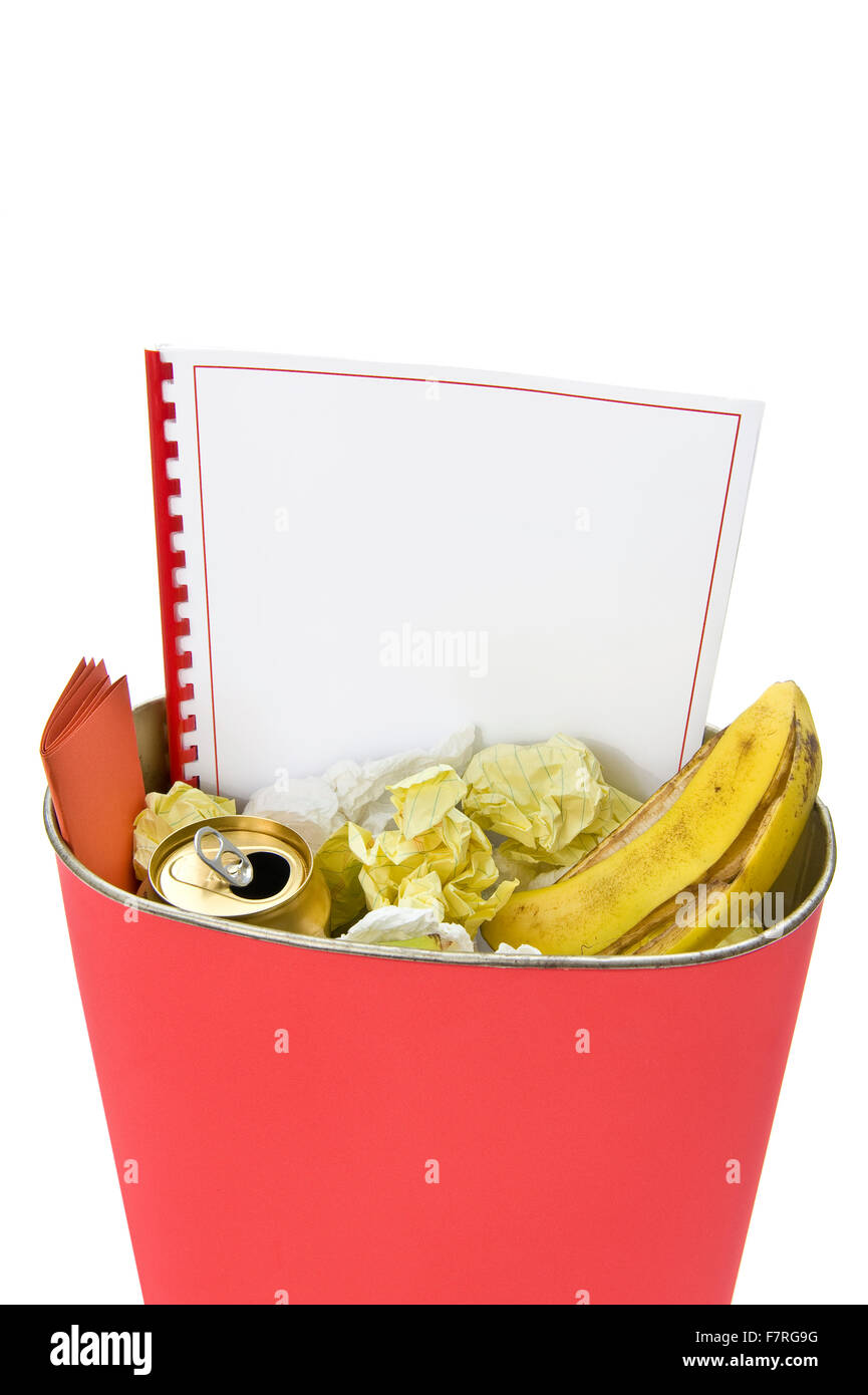 Blank Book In Trash Can Stock Photo