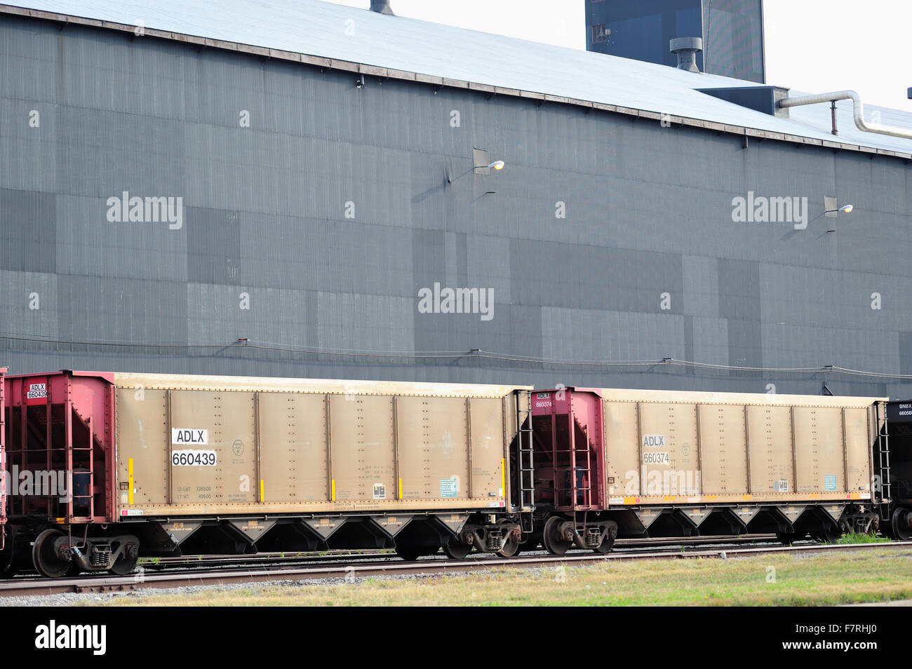 Freight cars on a siding at a steel mill in East Chicago, Indiana. The community is heavily immersed in the steel - Stock Image
