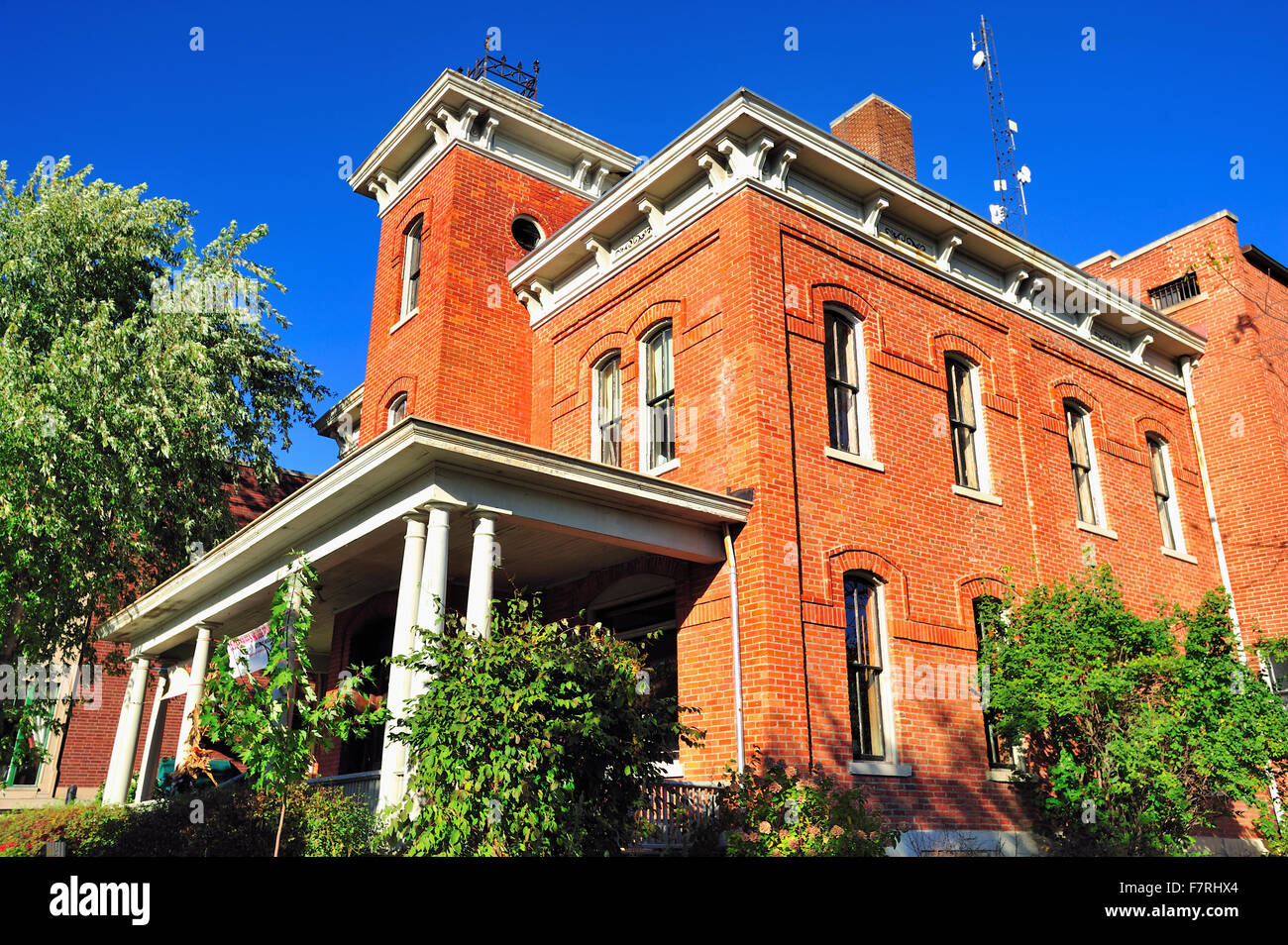 The Lake County Sheriff's house and jail in Crown Point, Indiana were built in 1882 in the Second Empire style.Crown - Stock Image