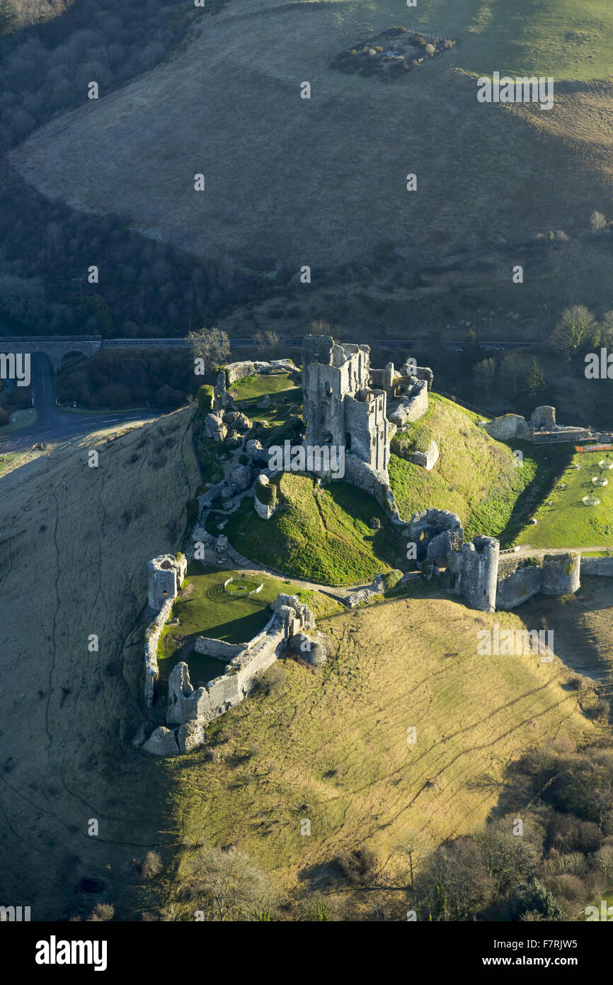 An aerial view of Corfe Castle, Dorset. - Stock Image