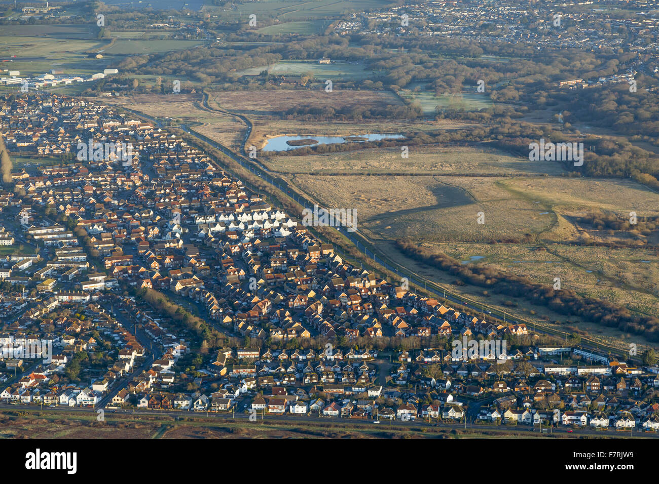 An aerial view of a developed area in the south west of England. - Stock Image