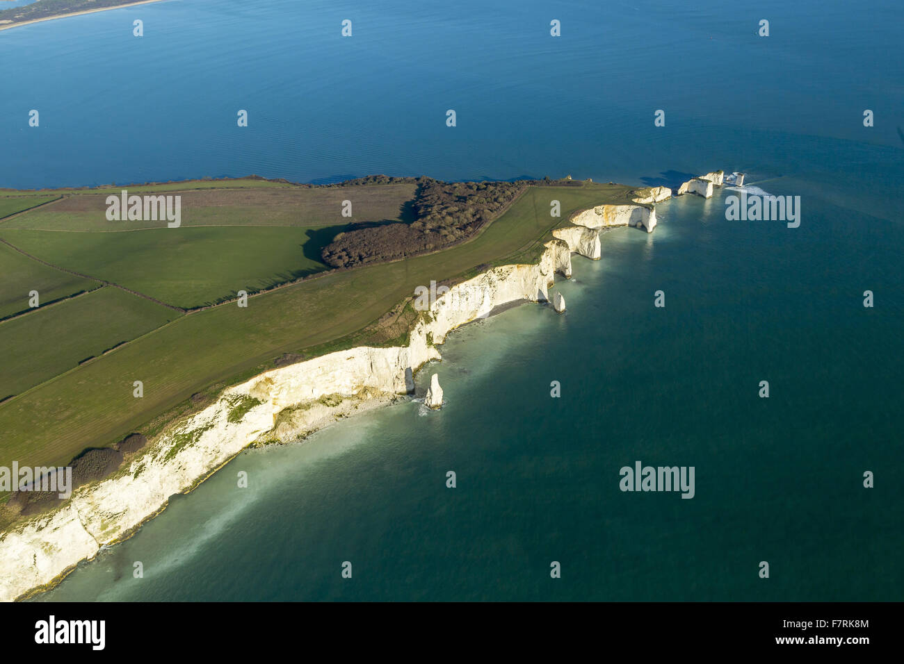 An aerial view of Old Harry Rocks, Isle of Purbeck, Dorset. - Stock Image