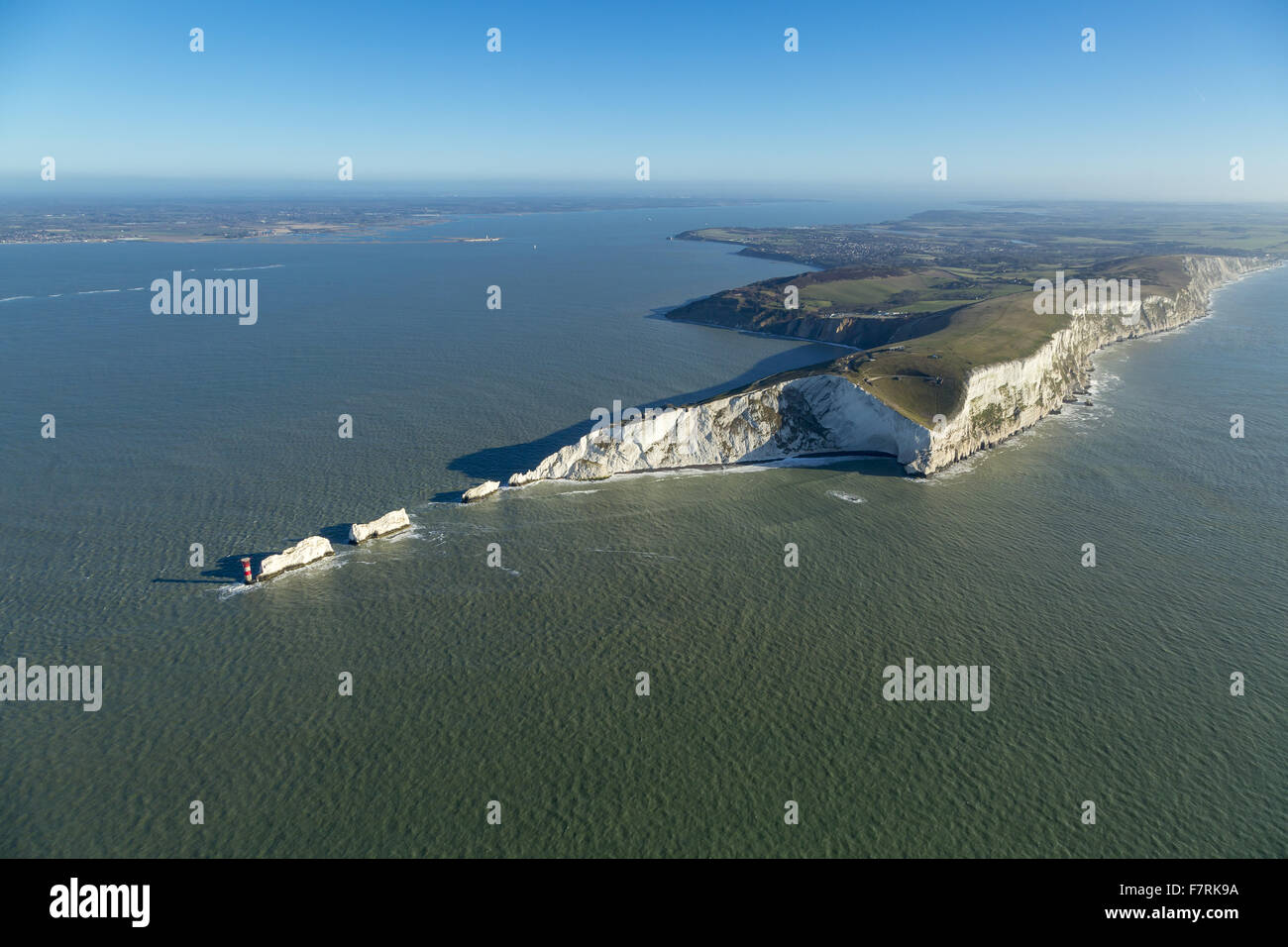 An aerial view of The Needles Old Battery and New Battery and Tennyson Down, Isle of Wight. Stock Photo