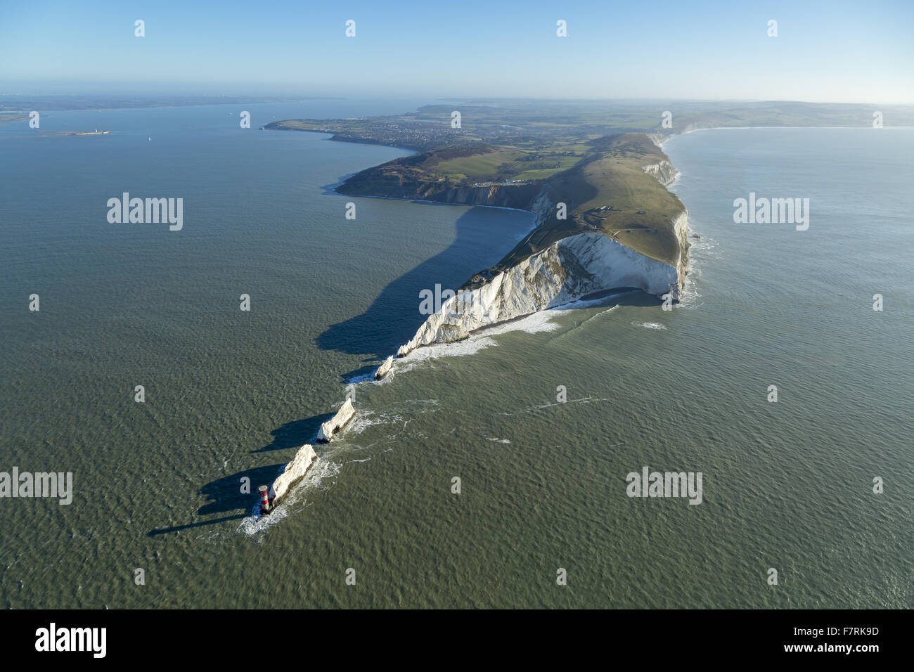 An aerial view of The Needles Old Battery and New Battery and Tennyson Down, Isle of Wight. - Stock Image
