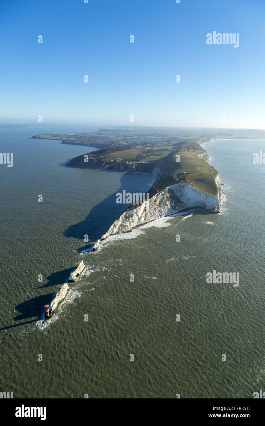 An aerial view of The Needles Old Battery and New Battery, Isle of Wight. Stock Photo