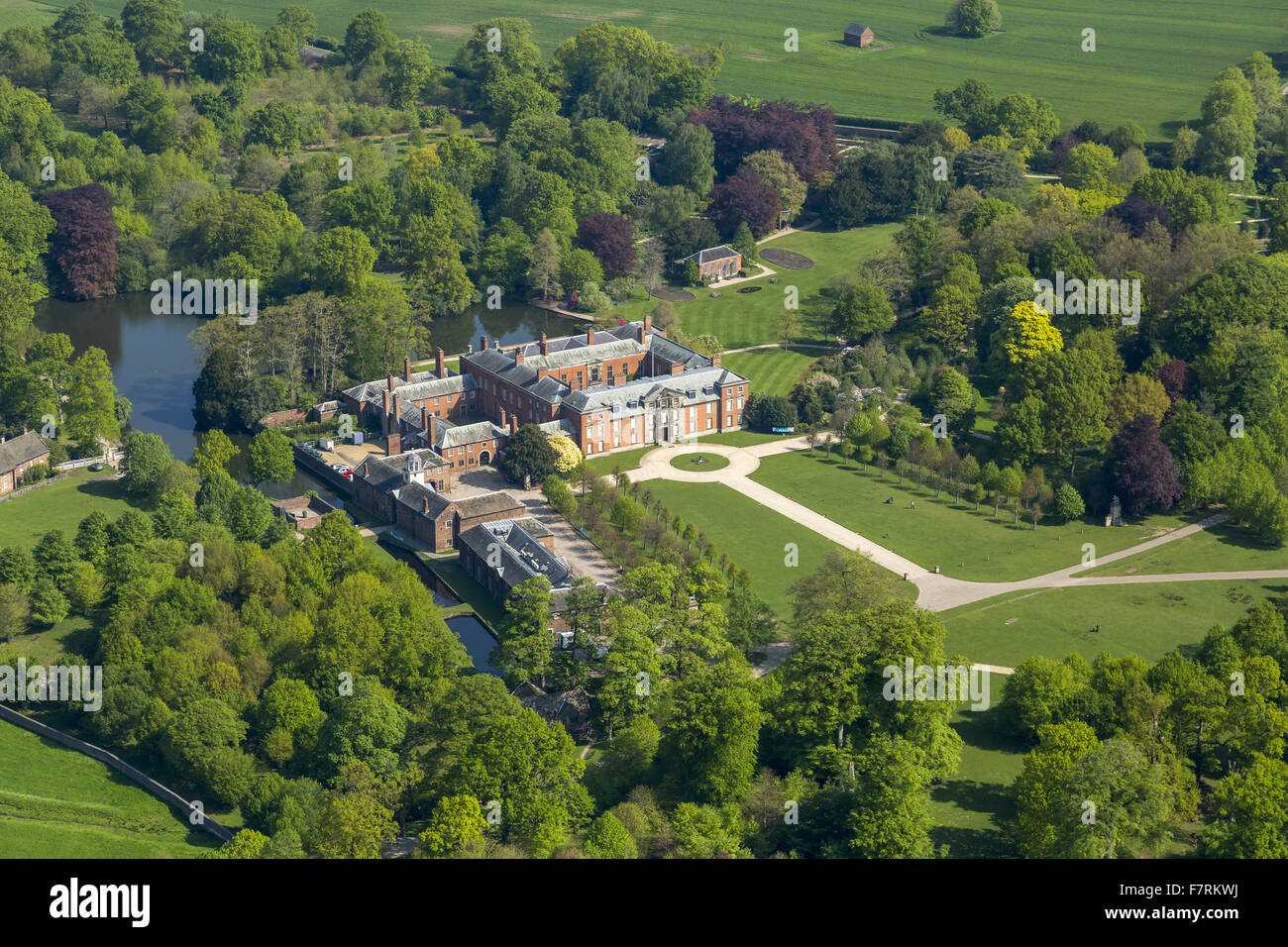 An aerial view of Dunham Massey is the Stamford Military Hospital, Cheshire. - Stock Image