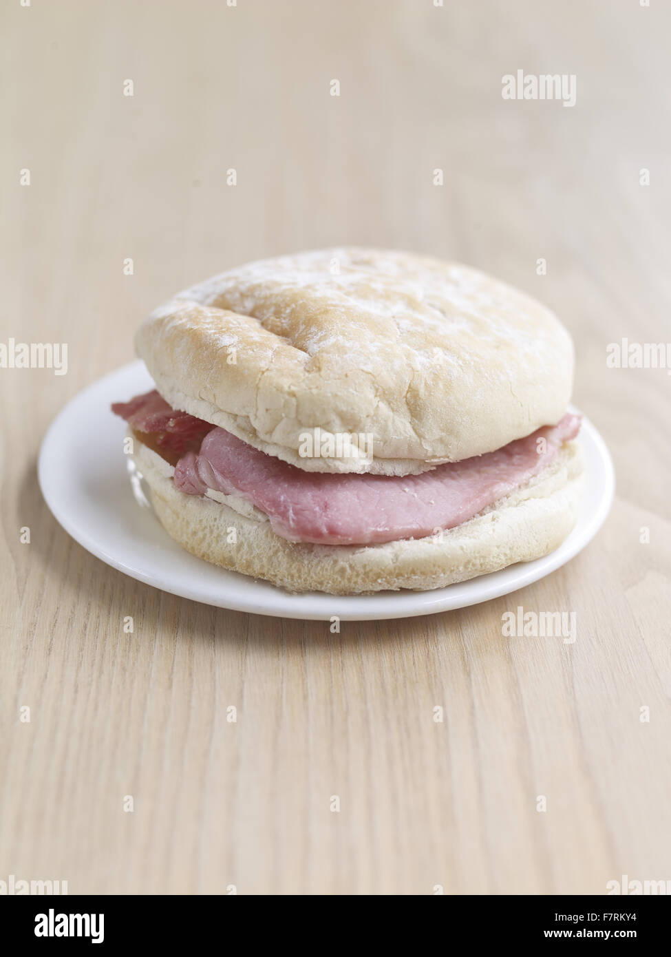 Bacon bap photographed for the 2015 National Trust Summer Cookbook. - Stock Image