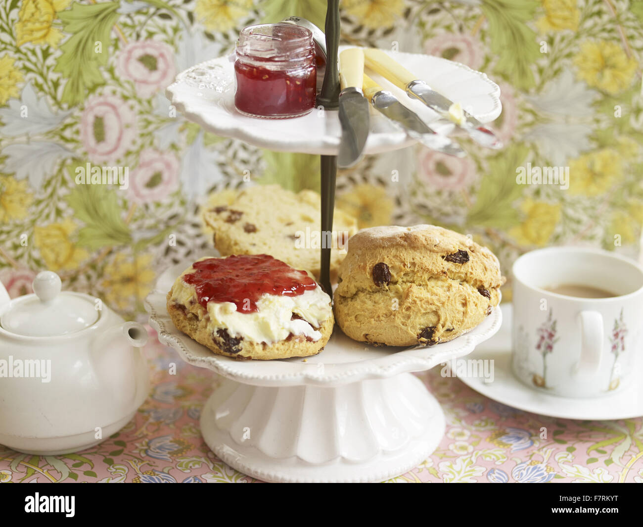 A cream tea photographed for the 2015 National Trust Summer Cookbook. - Stock Image